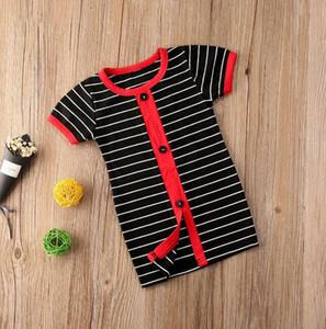 Girl's Dresses Baby Fashion Dress Single Breasted Short Sleeve Stripe Mini Dress Sundress Kids Clothing Tops