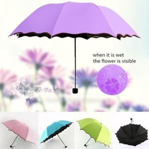 بسيطة أزياء المرأة مظلة أندبروف واقية من الشمس ماجيك زهرة مظلة قبة الأشعة فوق البنفسجية واقية من المطر المطر مظلات 6 colorsv owf3285