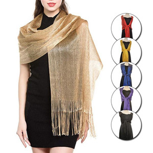 Elegant Evening Dresses Shawls Female Golden Silvery Wire Tassels Bridal Bridesmaid Party Wedding Temperament Accessories Scarf