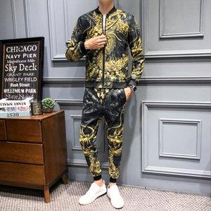 Tracksuit Men Designer Fancy Conjunto Deportivo Hombre Ensemble Homme Fashion Menswear (jacket+pant) 5xl Luxury Gold Dragon Fall Y1112