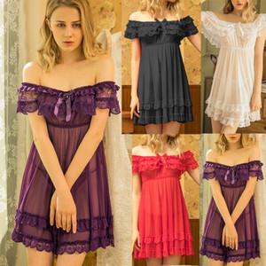 pyjamas pour femmes Womens Ladies Sexy Lace Bowknot Slash-Neck Sleepwear Nightdress Pajamas pizama dla kobiet
