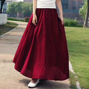 10 Solid Color New Long Skirts Womens Bohemian Casual Elastic Waist Linen Circle Big Pendulum A Line Cotton Skirt