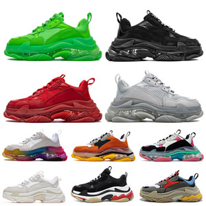 Balenciaga Triple S 2020 Moda Lujo Hombres Mujeres Zapatos casuales Crystal Red Bottoms Paris 17FW Vintage Dad Designer Shoes Clear Sole Platform Sneakers