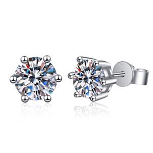 Anziw 925 Стерлинговые серебро Moissanite Алмазные Серьги для женщин Классические Серьги Классические Серьги Свадебные Евреи