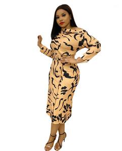 드레스 긴 소매 불규칙 프린트 Strapless 높은 허리 밴지 드레스 여성 의류 Vestido Plus Size Womens