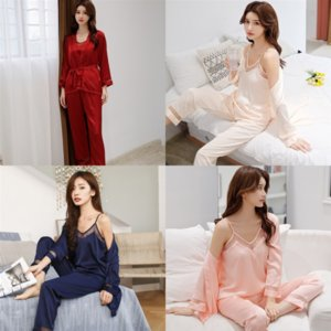 HID PAJAMAS LONGSLEEVE SIG WOMS SATIN SET PAJAMAS AUTUMN Sleepwear Lady Silk Faux Short para