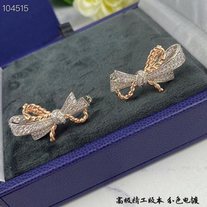Luxury Insolence Brand Designer S925 Sterling Silver With Rose Gold Full Crystal Butterfly Knot Charm Stud Earrings For Women Jewelry