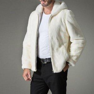 New Arrival Top Quality Mens White Faux Fur Hooded Zip Coat Man Fur Hooded Jacket Warm Outwear gentleman Coats Plus Size S-4XL