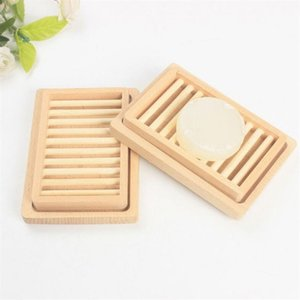 Soap Rack Plate Box Wooden Natural Bamboo Soap Dishes Tray Holder Storage Portable Bathroom Soap Storage Box