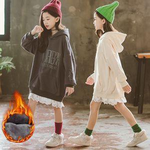 Autumn Winter Hoodie for Teenagers Fleece Thicken Warm Sweatshirt for Girls Tops Kids Hoodies Dress Children's Clothing 8 12 Y F1216