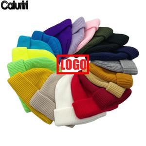 Winter Warm Beanies 18 ColorS DIY Logo Team Club Hats Custom Print Embroidered Logo Made Winter Warm Beanie for Men Women ZZ-305