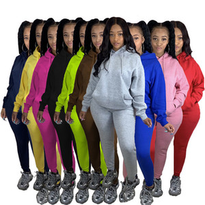 Womens Two Piece Set Tracksuits Solid Color Fleece Hooded Sweatshirts Casual Pencil Pants Autumn Winter Women Jogger Fitness Sports Suits
