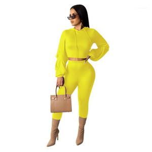 Womens Natural Color Tracksuits Casual Manches à manches longues Crop Top Top Pantalon long Pantalon Femme Set de 2 pièces