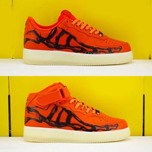 2020 Yeni Sürüm Portakal İskelet QS Erkek Ayakkabı Kadınlar Sneakers1s Cadılar Bayramı Kaykay Sneakers Eğitmenler Zapatos Boyut 36-45 Koşu