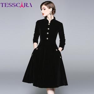 Tesscara Mujeres Otoño Invierno Elegante Vestido de terciopelo Festa de alta calidad Vintage Party Robe Femme A-Line Designer Vestidos negros F1202