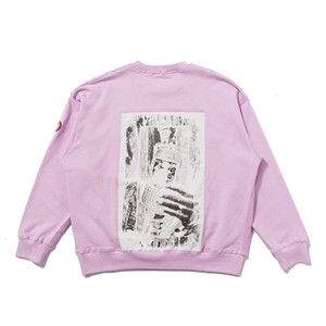 Japanese tide brand new cavempt CE hand patch men's and women's Pink Pullover Crew Neck Long Sleeve Sweater