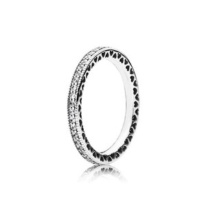 Real Womens Diamond with Original box Fit Pandora Style Charm 925 Sterling Silver Ring Valentine's Day Gift