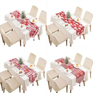 Christmas Red White Knitted Table Runner with Tassels Cartoon Tree Snowflake Elk Pattern Tablecloth Holiday Party Decor