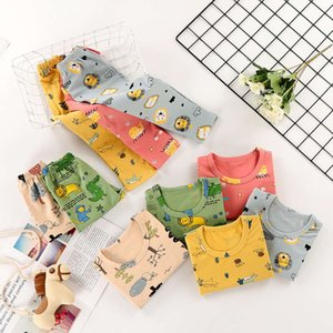 3-8 autumn cloth and trousers printing set cartoon years old Children's warm underwear Lycra baby pajamas
