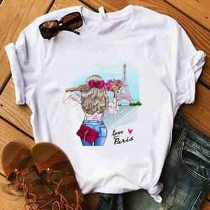 womens t shirt Paris Style Women Summer Lady Floral Earring Pink High Heel Cat Tops Gift Harajuku Luxury T shirt