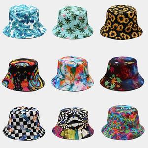 Women Men Harajuku Flower Contrast Colored Bucket Hat Reversible Packable Wide Brim Sun Visor Hip Hop Cotton Fisherman Cap 815