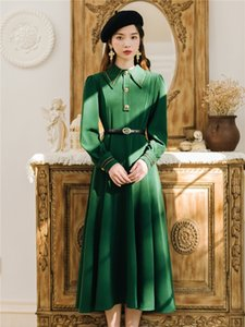 Best Quality Series Elegant Green Vintage Retro Formal Anniversary Charming Unique Women Dress 988