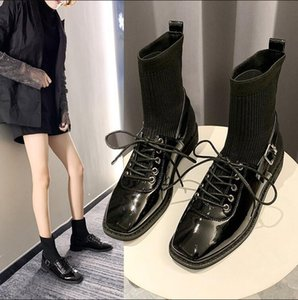 Boots Women Shoes Woman Boots Fashion Flat Black Ankle Elastic Winter 2020 Winter New Fashion Socks B04