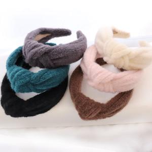 Girl Pure Color Retro Headband Children Autumn Winter Woolen Cloth Fashion Knot Wide Hairband Hair Accessories 6ms J2