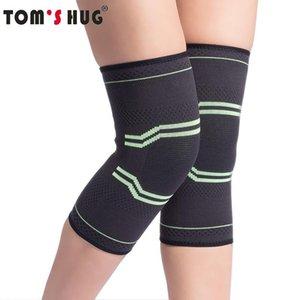 1 Pair Sport Knee Support Sleeve Protect Kneepad Tom's Hug Brand Running Cycling Gym Braces Elastic Knee Pad Warm Black Green wmtYmi
