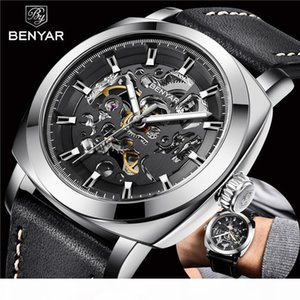 BENYAR Men's Watches Top Brand Business Fashion Mechanical Waterproof Skeleton Wrist Watch Leather Clock's Man Relogio Masculino