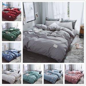 Nuovo Biancheria da letto di colore puro di lusso Set di copripiumino moderno Set King Queen Full Twin Letto Letto Ibrido Brief Breve Letto Flat Sheet Set Y1123