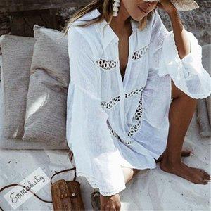 2020 New Sexy Women Mini Dress Cover Ups White Lace Flare Long Sleeve Crochet Bathing Suit Bikini Swimwear Cover Up Beach Dress
