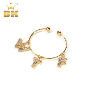 The Bling King Simple Style CZ Initial Letter Bracelet Gold Gift Copper A-Z Pendant Gold Charm Bracelet Unisex Punk Jewelry Y1130
