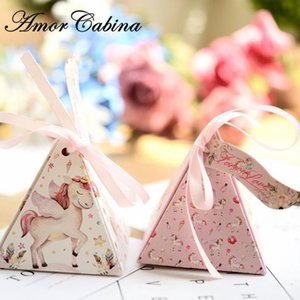 Dessin animé Unicorn Wedding Like Bopponiera Box Boîte Anniversaire Fête cadeau Baby Douche Rainbow Horse Sac de bonbons