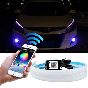RGB Daytime Running Light DRL Auto Lamp Multi Color LED Strip Flexible For Headlight APP Bluetooth Control Waterproof