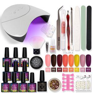 Nail Set UV LED Lamp Dryer With 8 10 pcs Nail Gel Polish Kit Soak Off Manicure Tools Set Matte Coat Semi Permanent Varnish Kit