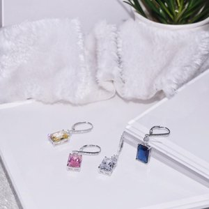 Sterling silver earrings long square main diamond ear pin ladies women's designer luxury jewelry gifts wholesale accessories20200317