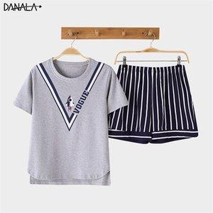 Danala Pamuk Rahat Kadın Pijama Setleri Yaz Hayvanlar Baskı Vogue Kısa Kollu Pijama Setleri Kadınlar Ev Takımları Y200425