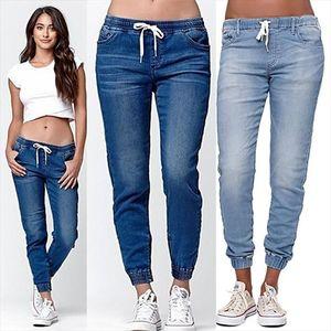 Women Pencil Pants Autumn High Waist Jeans Pure Color Lace up Washed Denim Drawstring Cowboy Pants Loose Casual Long Trousers