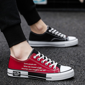 2019 New Canvas Shoes Youth Black and Red Shoes for Couple Mens Womens Leisure Shoes Students Daily Dress Rubber Soft Sole