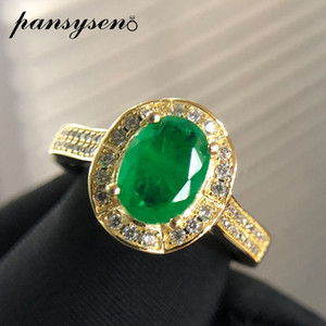 PANSYSEN Luxury 925 sterling silver 8x6MM Oval Emerald Gemstone rings for women Wedding Cocktail party Fine Jewelry Ring Gifts Y1119