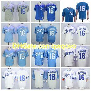 Vintage Baseball 16 BO Jackson Jersey 1974 1980 1985 1987 Rentieren Sie Männer PulloverFlexBase coole Basis Alle genähten blauen weißen grauen Teamfarbe