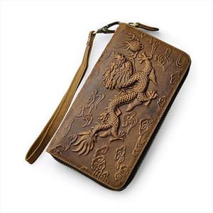 Heißer Verkauf Unisex Echtes Leder Marke Mode Kartenhalter Scheckbuch Reißverschluss um Organizer Brieftasche Design Geldbörse Kupplung Handtasche