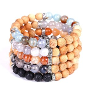 Elastic Gemstone Bracelets Wood and Natural Stone Beads Bracelet Bangles 5 Colors for Women Jewelry Gifts
