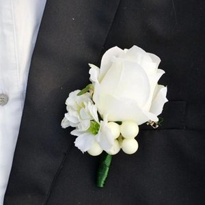 Weiß Best Mann Bräutigam Groomsman Boutonniere Rose Blumen Hochzeitsstrauß Zubehör Home Party Brautanzug Dekoration