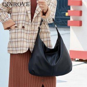 Large Capacity Shoulder Bag For Women 2020 New PU Leather Tote Bag Fashion Ladies Female Half-moon Solid Color Foldable Handbag