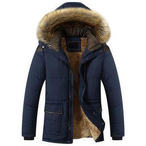 Winter Fur Collar Coat Hooded Jacket Men Winter Windproof Thicken Fleece Parka Mens Jackets and Coats Plus 5XL Outwear Clothes