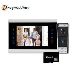 DragonsView 7 '' Couleur Video Porte Téléphone Vidéo Interphone Soignage Caméra 1200TVL avec capteur de mouvement Inclure 16 Go de carte SD / 5m Câble11