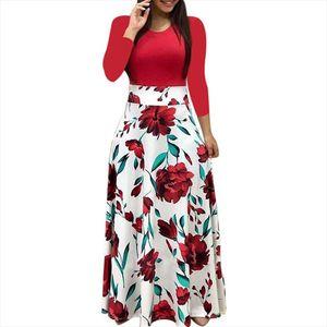 Women Long Sleeve Floral Print Maxi Dress Spring Autumn Vintage Casual Robe Elegant Ladies Party Long Dress Vestidos Plus Size