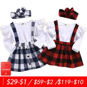 Baby girl clothes new cotton suit long-sleeved lace T-shirt + plaid suspender skirt two-piece birthday birthday clothing F1210